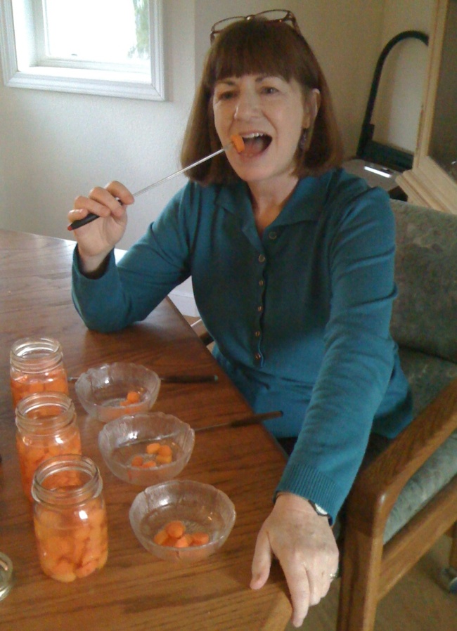 tasting pickled carrots