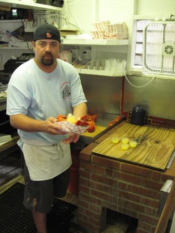 Serving lobster at Roy Moore Lobster Co.