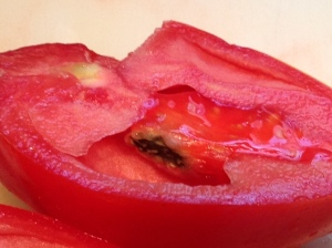 This picture, from Sherri Venditti, shows black mold in a nameless, open-pollinated paste-tomato variety.