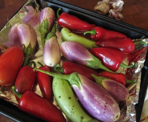 eggplants, peppers, & tomato ready for roasting